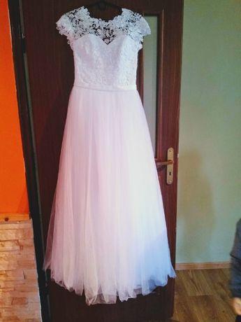 Suknia ślubna r. XS / S gipiura tiul