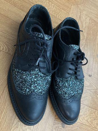 туфли кожанные черные унисекс со вставкой люрекс (иммитация страз)