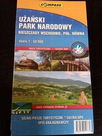 Użański Park Narodowy mapa Bieszczady Wschodnie Połonina Równa Compass