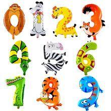 Шары цифры фольгированные на День Рождения животные шарики воздушные