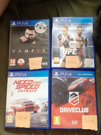 Gry na PS4 /Driveclub/Vampyr/Need For Speed Payback/ UFC2