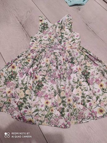 Sukienka dziewczęca zwiewna  4-5 lat w kwiaty