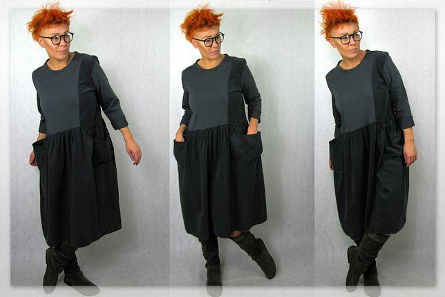 Nowość wyjątkowa włoska sukienka sztruks+dres lejba oversize L XL