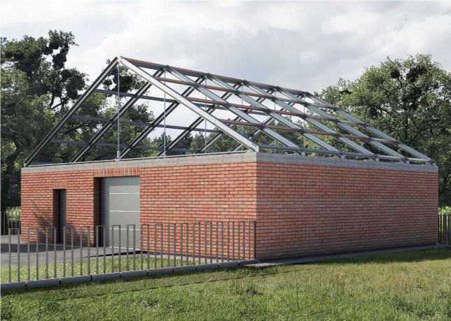 Konstrukcja dachu wiaty garaż wiązary dźwigary płyty warstwowe hala