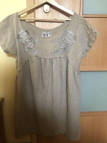 Beżowa bluzka tunika rozszerzana Zara