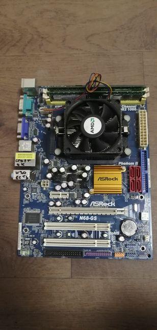 Материнская плата AM2+/AM3 Asrock N68GS + Athlon II x2 250 + 2ГБ озу