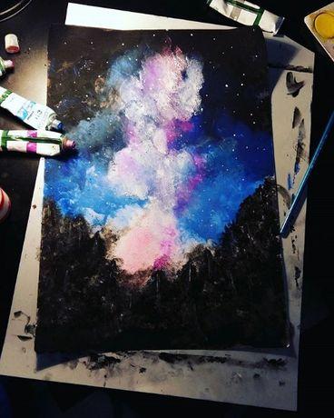 Obrazek las i niebo A4