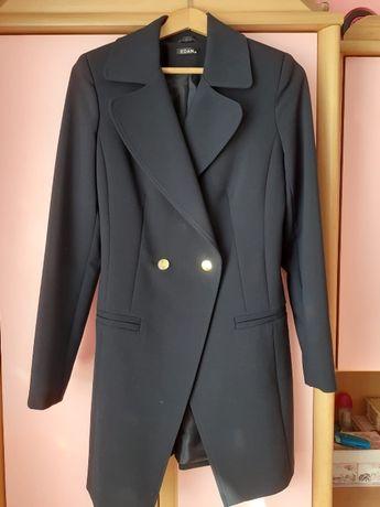 Granatowy płaszcz / żakiet wiosenny EDAN, rozmiar 34
