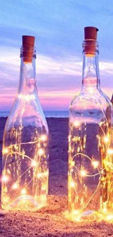 Światełka na baterie ozdoba korek świecąca butelka