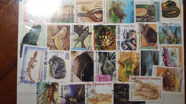 Znaczki pocztowe - zestaw ze zwierzętami