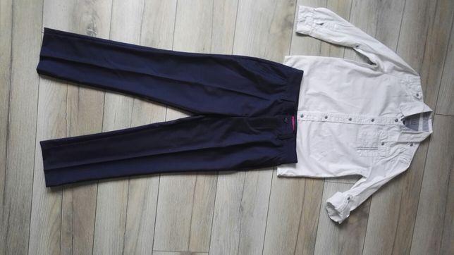 Eleganckie granatowe spodnie w kant Next 140cm