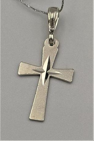 Krzyżyk srebrny zawieszka cięcie diamentowe SS-60