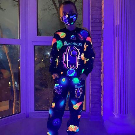 Детский светящийся 3D костюм Among Us / детская одежда комбинезон