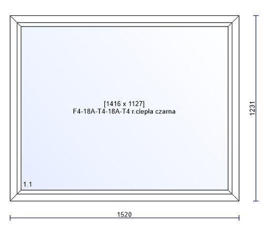 Okno PCV białe FIX 1520x1231 Salamader bE82MD