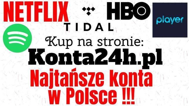 Netflix   HBO   Player   Spotify   TIDAL KONTA PREMIUM Automat 5s