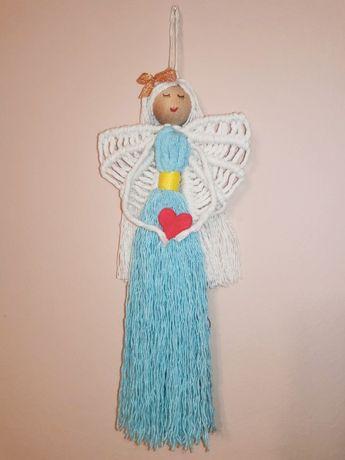 Anioł Stróż z Makramy Prezent na Chrzest Narodziny Makrama Anioł Domu