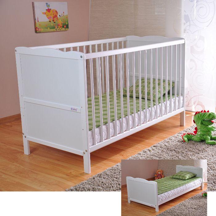 Łóżeczko dziecięce białe (możliwość wysyłki + nowy materac)
