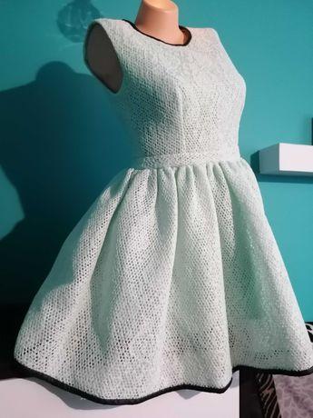 Nowa żakardowa, piekna rozkloszowana,miętowa sukienka