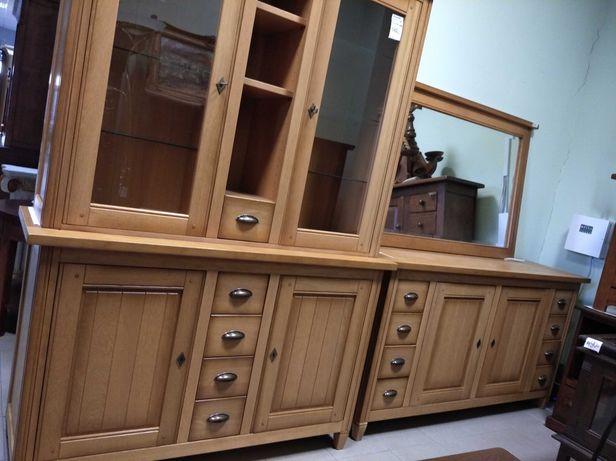 Komplet zestaw salon komoda witryna jasna dębowa drewniana lustro DOWÓ