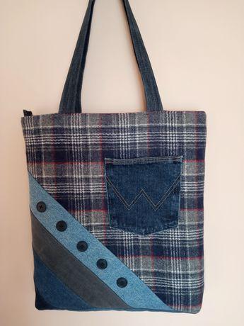 Torebka torba jeansowa rękodzieło prezent (handmade upcykling)