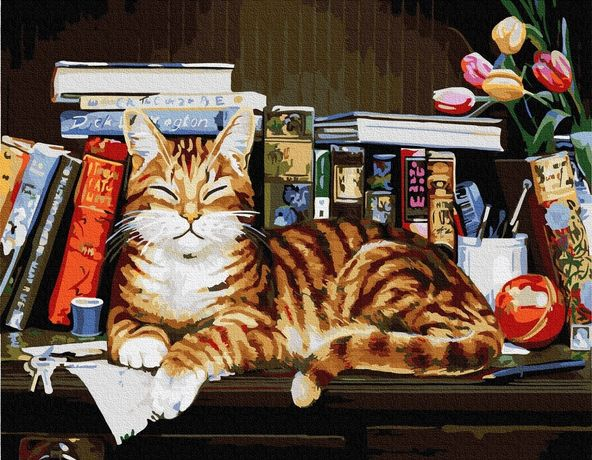 """Картина по номерах """"Кіт на книжній полці"""""""