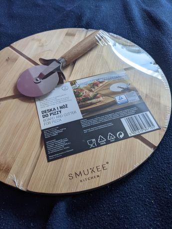 Deska do pizzy z nożem/ radełko