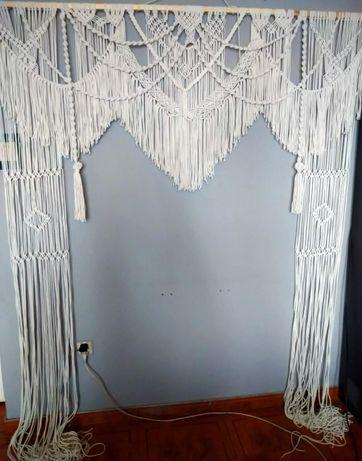 Makrama ślubna wesele ścianka boho sesja firanka