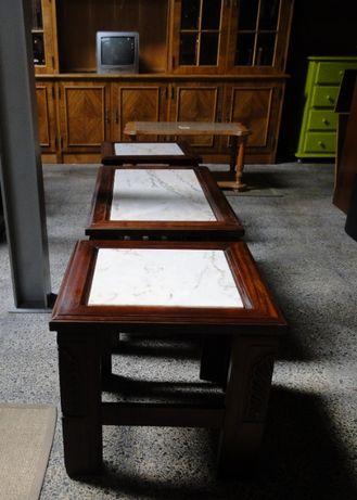 Mesas de centro em madeira com tampo em pedra - Valor unitário