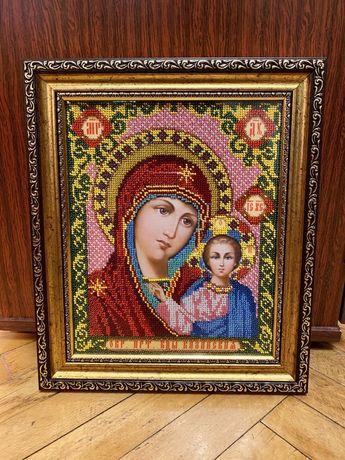Икона вышитая бисером Богородица Казанская