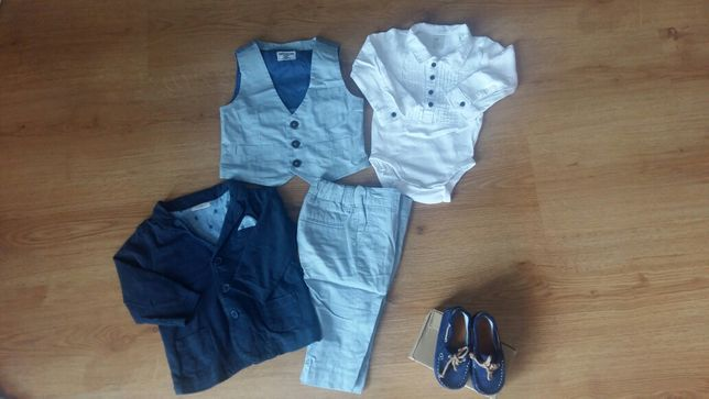 Zestaw do chrztu next h&m 6-9 garnitur koszulo-body marynarka