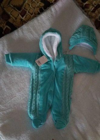 Человечек зимний+шапочка для новорожденного малыша