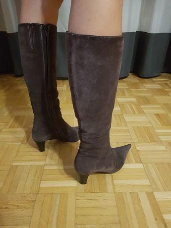 Oryginalne kozaki  włoskie buty damskie 36 skóra natura