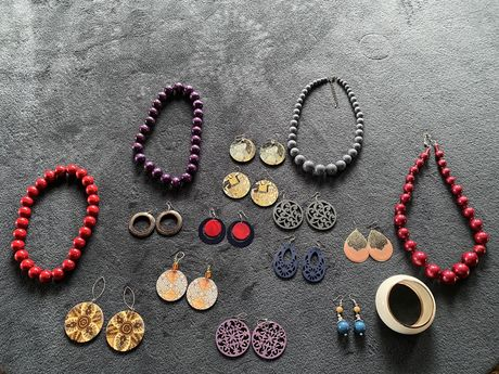 Zestaw biżuterii korale góralskie naszyjniki kolczyki NOWE