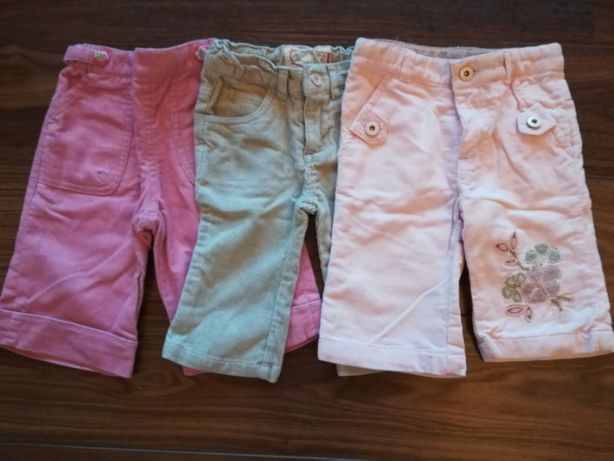 3 calças menina T.6/9 meses