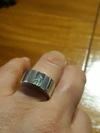 Obrączka srebrna pierscionek z muszlą abalone