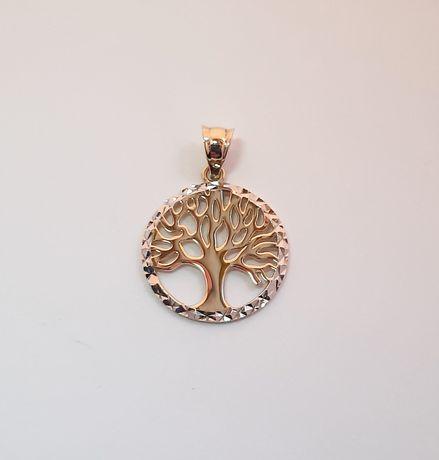 Złota zawieszka drzewko 585 białe i żółte złoto