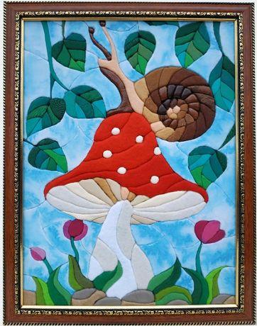 """Картина """"Улитка"""" из фетра, кожи, ткани, сувенир, подарок"""