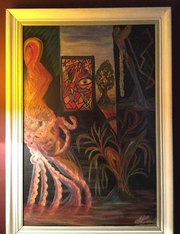 Quadro a óleo de pintor surrealista Português, anos 60