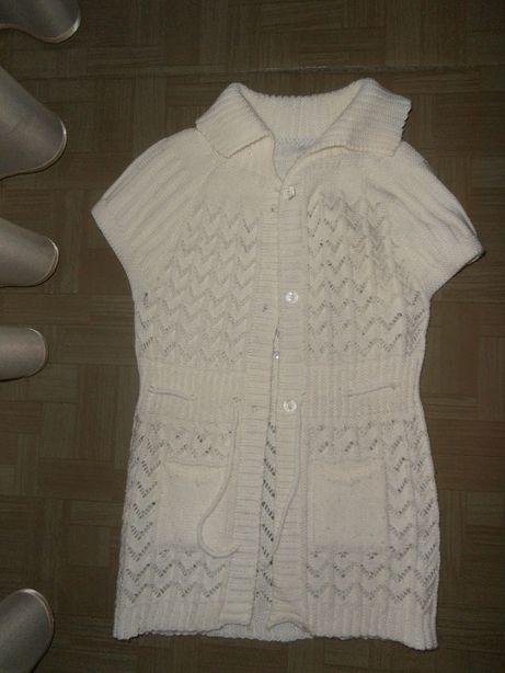 Вязанная белая туника на девочку 6-10 лет