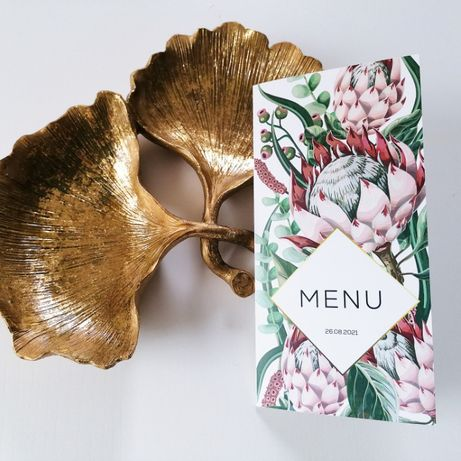 Menu na stół weselny z egzotycznym motywem kwiatów srebrnika PUDROWY R