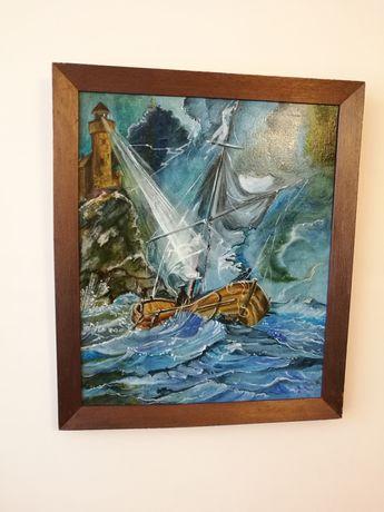 """Obraz """"Sztorm"""" marynistyczny olej na płótnie sygnowany latarnia morze"""