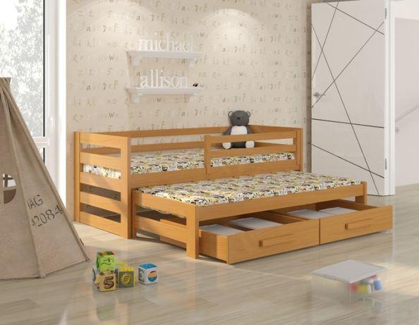 Drewniane łóżeczko rozsuwane dla dziecka - pastelowe kolory HIT 2019