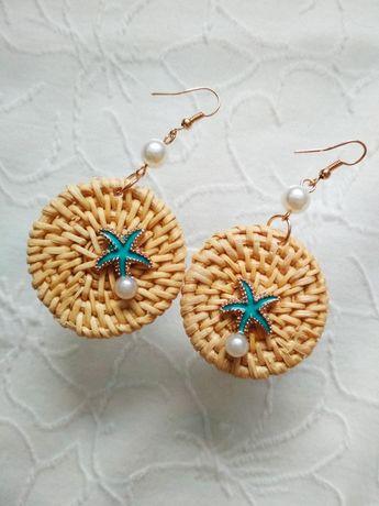 Kolczyki rattanowe z rozgwiazdą i perełą hand made
