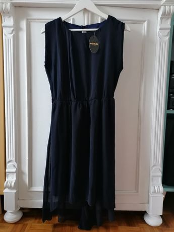 Sukienka granatowa niebieska z metką L XL 40 42 styl grecki