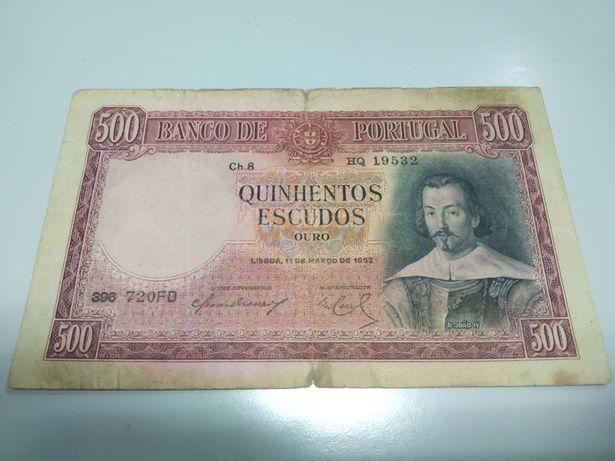 Nota 500 Escudos 1952 Portugal