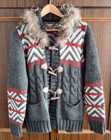 Home office! Wełniany, ciepły sweter góralski z naturalnym futerkiem