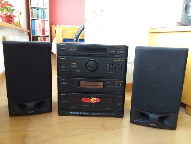 Wieża Philips, 2 × na kasetę, radio, CD, pilot, 2 kolumny