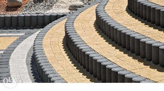 Palisada okrągła betonowa grafitowa kostka brukowa granitowa piasek