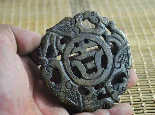 Pendente/Amuleto em Jadeite Dragão/Fénix Simbologia Chinesa