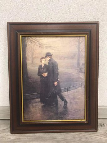 Zakochana para obraz w drewnianej ramie 43 na 53,5cm